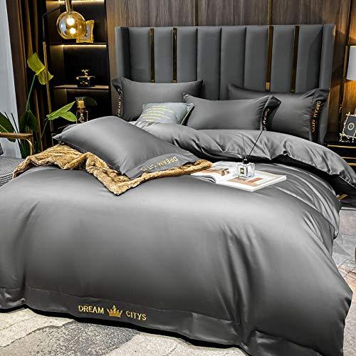 ropa de cama 135x190 3 piezas,Lavar la seda de cuatro piezas de hielo de cuatro piezas Seda continental Ski-Smaller Summer Grey es de manga Bed Single European Supplies de viento-A_1,8 m de cama (4 p
