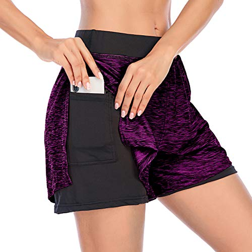 Cucuchy Womens Running Yoga Shorts Double-Layer Athletic Workout Pants with Pocket (Small, Purple Red)
