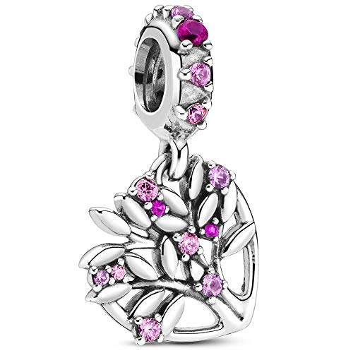 Pink Heart Family Tree Dangle Charm - Authentic S925 Sterling Silver Collection with Cubic Zirconia Charms & Gift Pouch
