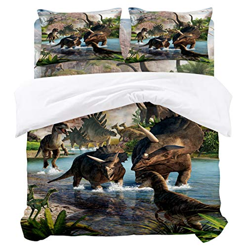 URDER Microfiber Duvet Cover Sets with Zipper Closure & Corner Ties, Jurassic Dinosaur Soft and Breathable Bedding Set, Flat Sheet and Pillowcases - 4 Pieces Queen Size