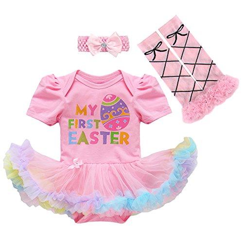 Déguisement de Pâques avec Bandeau Jambière Enfants Robe Costume pour la Fête de Pâques Easter Canaval Ensemble de 3 Pièces pour Bébé Filles Rose 12-18 Mois