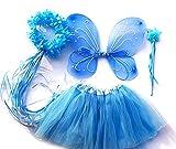 Tante Tina - Disfraz de Hadas Mariposa - Alas, Falda tutú, Varita mágica y Diadema - Azul con Diadema
