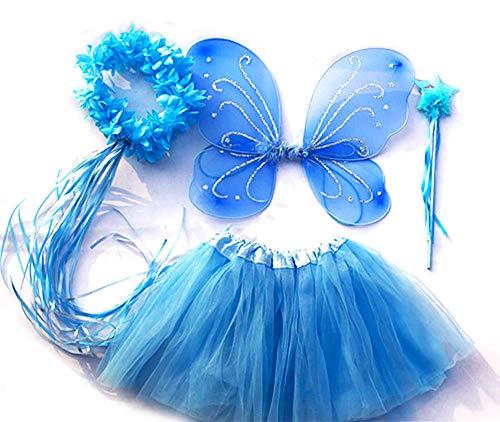 Tante Tina Costume da Farfalla per Bambina - Vestito Farfalla da Bimba in 4 Pezzi: Gonna in Tulle, Ali, Bacchetta e Cerchietto - Blu - Indicato per i Bambini da 2 a 8 Anni