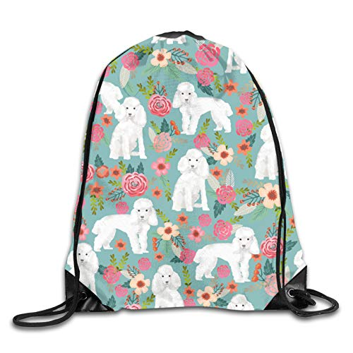 Nother Poodle Florals Dog Dogs Breeds - Gulf Blue Cinch Bags Drawstring Backpack