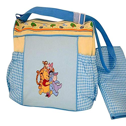 Disney Pooh Blue Gingham and Yellow Large Diaper Bag