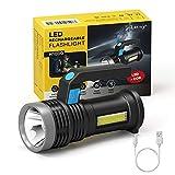 LETMY LED Taschenlampe USB Aufladbar, Extrem Hell Taschenlampe mit COB Arbeitsleuchte und Griff, 4 Modi Flashlight, IP65 Wasserdicht Campinglampe für Outdoor, Wandern, Stromausfall, Reparieren