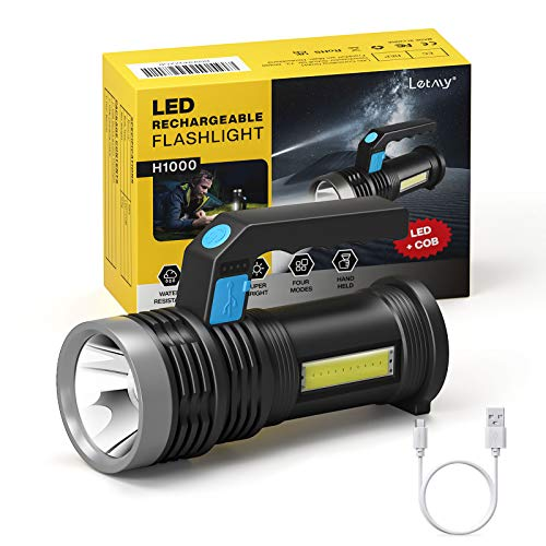 LETMY LED Torch USB Rechargeable, Super Bright Lantern Light with Handle and COB Work Light, 4 Modes Waterproof Searchlight for Camping Fishing Hiking Outdoor