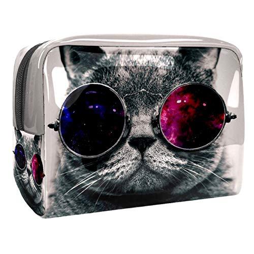 Kit de Maquillaje Neceser Gafas de Sol de Gato Make Up Bolso de Cosméticos Portable Organizador Maletín para Maquillaje Maleta de Makeup Profesional 18.5x7.5x13cm