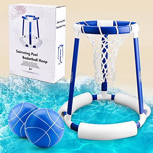 OWNONE 1 Pool Basketball Hoop Floating Water Basketball Hoop Goal, Swimming Pool Toy for Kids and Adults, Outdoor Pool Game for Summer Children 6 8-12 Years Old