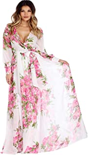 KOERIM Women Boho Floral Maxi Dress Split Beach Flowy Party Dresses with Belt