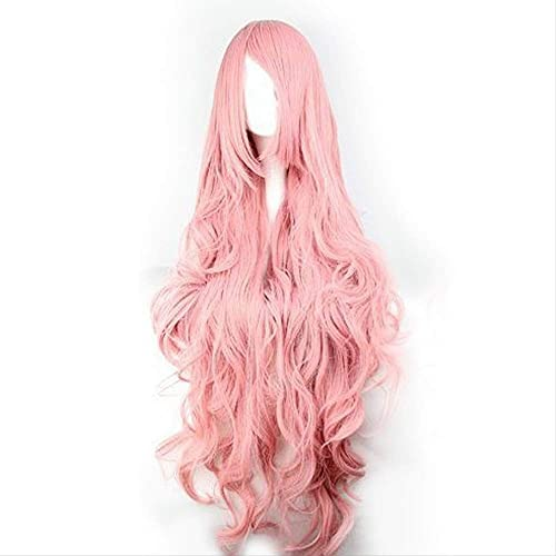 MHSM Perruque Cheveux rose Wigs Air Volume High Temperature Soft Silk Bulk Hair Long Curly Big Wave Hair Synthetic Wig Cosplay Body80 Straight100Cm 19 Ans, états-Unis Qui