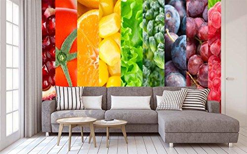 Fotomural Vinilo para Pared Arcoiris Fruta | Fotomural para Paredes | Mural | Vinilo Decorativo | Varias Medidas 200 x 150 cm | Decoración comedores, Salones, Habitaciones.
