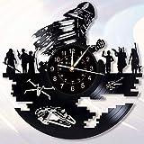 3D ビニールレコード 壁掛け時計 スターウォーズのテーマ 手作り ウォールクロック 現代およびクリエイティブホーム壁の装飾