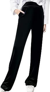 Womens Wide Leg Pants Velvet Fleece Solid High Waisted Straight Long Casual Soft Fashion Yoga Autumn Winter