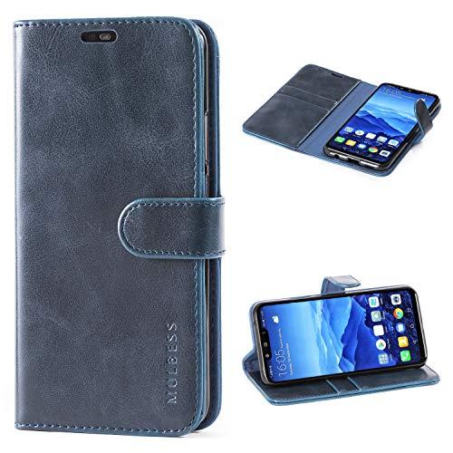 Mulbess Cover per Huawei Mate 20 Lite, Custodia Pelle con Magnetica per Huawei Mate 20 Lite / Mate20 Lite [Vinatge Case], Blu Navy