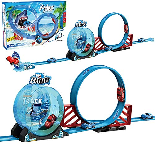 Shark Theme 360 Degrees Speed Railcar Mini Pull Back Orbit Car Toy Slot Car Track Toys, Shark Attack Car Loop Racing Track Toy Gifts for Boys Girls Kids 3 4 5 6 Years Old Up