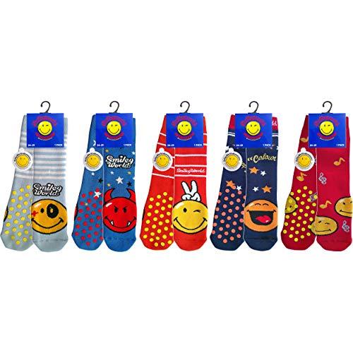 Smiley 5 pares de calcetines antideslizantes para bebé, en felpa de algodón (Niño multicolor, 24-29)