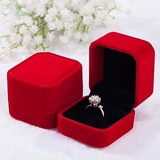 2 Pcs指輪ケース ジュエリーケース 指輪入れ リングピアスディスプレイプロポーズ用 指輪の保管にジュエリーボックス ベルベット (レッド)