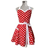 Hyzrz Lovely Sweetheart Retro Kitchen Aprons Woman Girl Cotton Polka Dot Cooking Salon Pinafore Vintage Apron Dress Mother's Gift (Red)