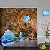 JIOLK Cortina de baño Repelente al Agua,Algarve Caves Portugal Pequeña Playa Grandes Cuevas,Cortinas de baño de poliéster de diseño 3D con 12 Ganchos