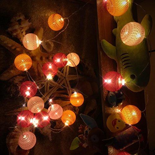 Guirlande Lumineuse, Chickwin Coton LED Chaîne de Lumière Boules Cosy Lumière Couleur Décoration Pour La Saint Valentin Noël Fêtes Mariage d'autres Fêtes Ou Occasions Etc (rose orange rouge, 3.3M / 20 lights)