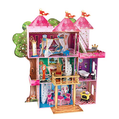 """KidKraft Storybook Mansion Three-Story Wooden Dollhouse for 12"""" Dolls with 14Piece Accessories"""