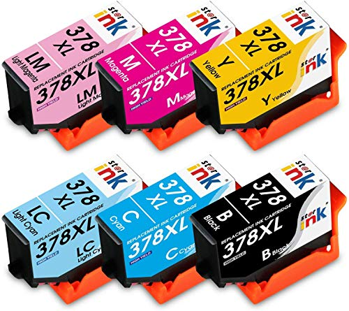 Starink 378XL Cartucce Compatibile per Epson 378 378 XL Cartucce d'inchiostro per Epson Expression Photo XP-8500 XP-8505 XP-15000 (1 Nero,1 Ciano,1 Magenta,1 Giallo,1 Ciano Chiaro,1 Magenta Chiaro)