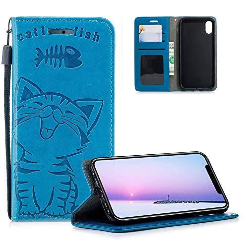 HMTECH Galaxy A7 2018 A750 Coque Chat Mignon et Souriant gaufrage Housse Flip PU Portefeuille Magnétique Stand Cuir Housse Coquille Couverture Compatible with Samsung Galaxy A7 2018,Smile Cat Blue
