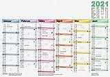 BRUNNEN 1070170001 Tischkalender/Tafelkalender A 4 Modell 701 70 DATAline, 1 Seite = 6 Monate, kräftiger Karton, Kalendarium 2021