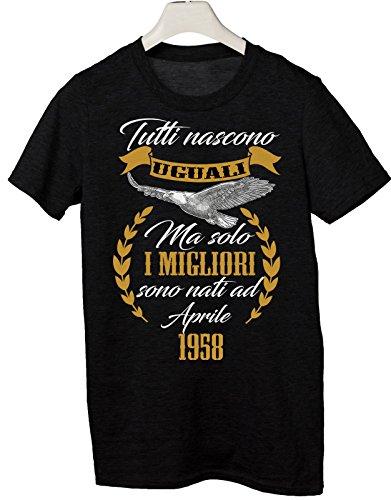 Tshirt Compleanno Aprile 1958 Tutti Nascono Uguali ma Solo i Migliori Sono Nati a Aprile 1958 - Eventi - Simpatico Regalo - Tutte Le Taglie by tshirteria