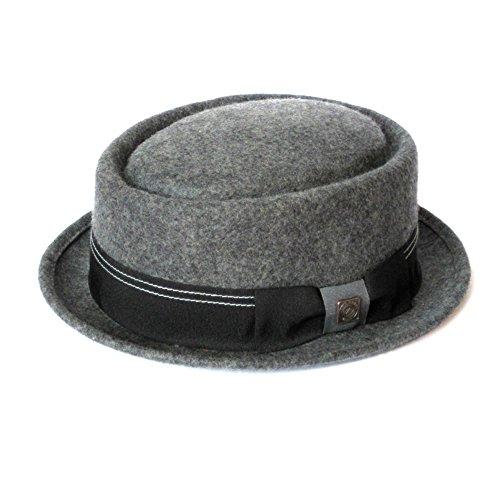 DASMARCA Quintin Grigio Crushable & Lana Packable Feltro Inverno Porkpie Hat - S