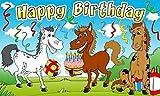 Kindergeburstag Happy Birthday GEBURTSTAG Kinder Fahne mit Pferden 1,50 x 0,90m Flagge Fahnen mit 2 Ösen