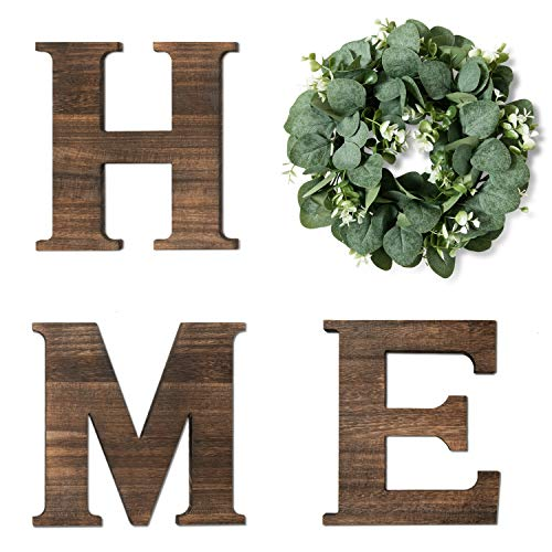 Yoleshy Wooden Home Sign with Artificial Eucalyptus Wreath for O, 9.8'' Home Letters with Wreath for Wall Hanging Decor, Rustic Wall Letters Decor for Living Room, Entry Way, Kitchen, Etc (Brown)