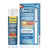 QuitGo Dual Support Quit Kit with Smoke-Free Soft Tip Inhaler, Herbal Relief & Recover Spray to Help Stop Smoking (Dual Support Kit, Oxygen)