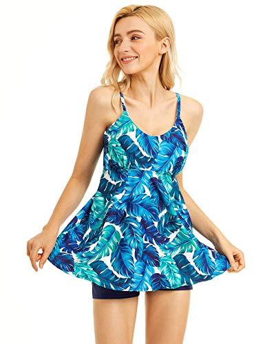 UPhitnis Tankini Damen Bauchweg Groß Größe - Sportlich Gepolsterte Bikini Sets mit Boyshort - Zweiteiligen Badeanzug Beachwear L-2XL