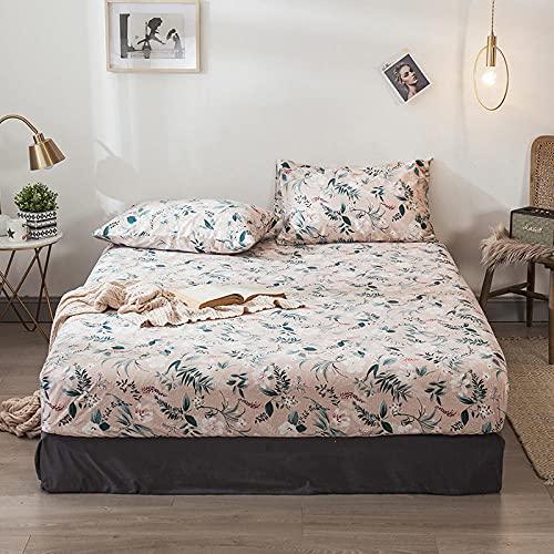 XGguo Protector de colchón Acolchado - Microfibra - Transpirable - Funda para colchon estira hasta Sábana Estampada de una Sola Pieza de algodón-9_180 * 200 + 25cm