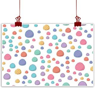 Mannwarehouse Wall Art Decor Poster Painting Easter Seamless Pattern Colored Eggs with Geometric Patterns can be Used for Wrapping Paper as Background Wallpaper Decorations Home Decor 24