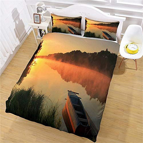 QNZOR Duvet Cover Sets Pillowcases Bedding King River boat Print Polyester Breathable 2 pillowcases with Zipper Boys Girls Home Decoration 86.6 x 94.4 inch