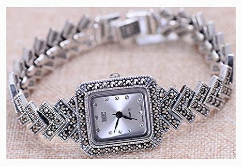 CDPC Reloj para Mujer Exquisito Reloj Vintage para Mujer, joyería de Plata de Ley 925, Pulsera, Accesorios para Reloj, joyería de muñeca, Longitud de Cadena de 18 cm