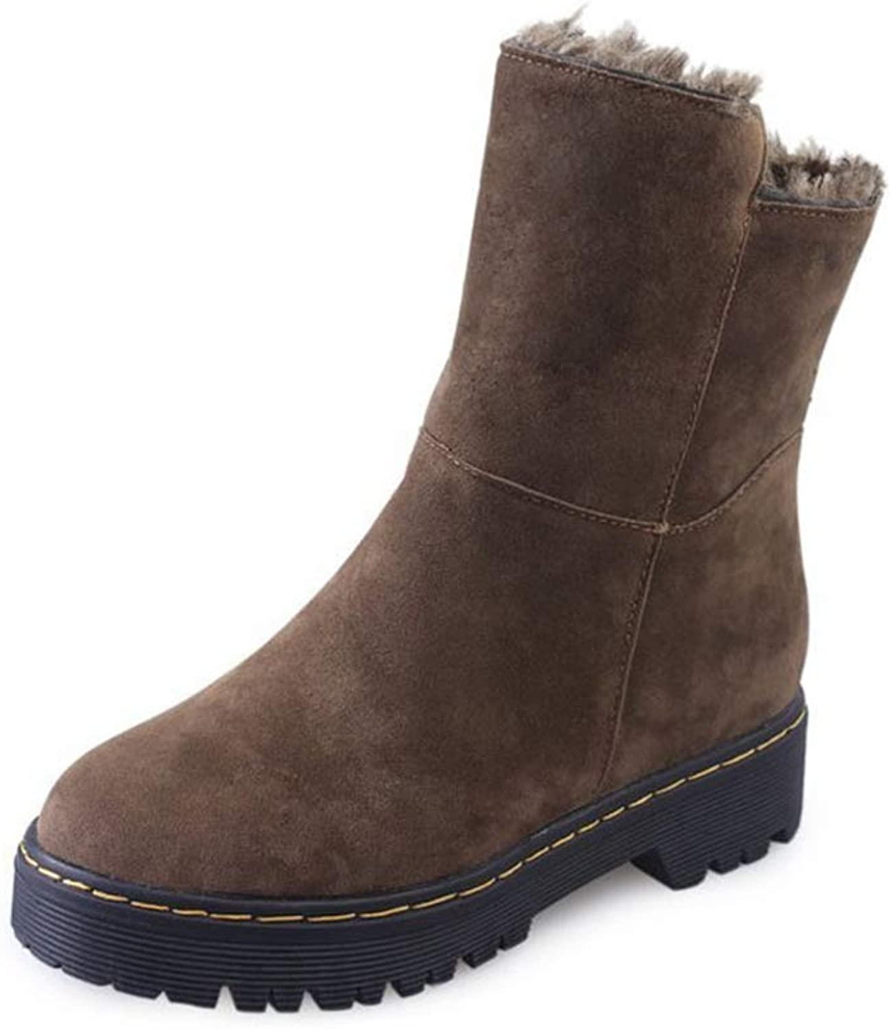 Woman Ankle Boots Low Sauqre Heel Slip On Plush Lining Warm Round Toe Antislip Ladies Fashion Winter Snow Boots