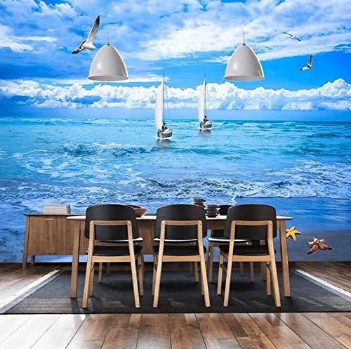 3D vliesbehang foto vlies premium fotobehang strand-zeeblik behang voor woonkamer-restaurant-hotel-slaapkamer-achtergrond wandfoto 400*280 400 x 280 cm.