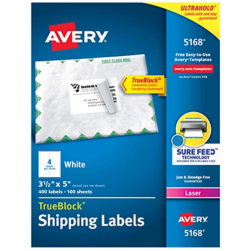 Avery Shipping Address Labels, Laser Printers, 400 Labels, 3-1/2 x 5, Permanent Adhesive, TrueBlock (5168) , White