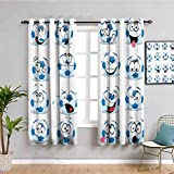 Sports Decor Collection Outdoor Curtain Cartoon Soccer Ball with Many Expressions Bored Laughing Happy Smiley Image Waterproof Fabric Blue White Red Pink W42 x L63 Inch