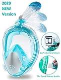 Snorkeling Mask Full Face Foldable Easy Breathe Anti-UV Ear Pressure Balance Design 180