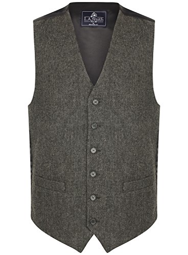 Lloyd Attree & Smith Herren Weste Grau Tweed Design (Größe L)