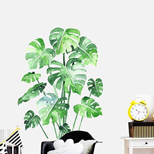 Grüne Bananenblatt tropische Pflanzen Wandaufkleber, Abnehmbare Baum Blätter Tapete Wandtattoo, DIY Wandkunst Dekor Wohnaccessoires Wandsticker (Monstera Leaf)
