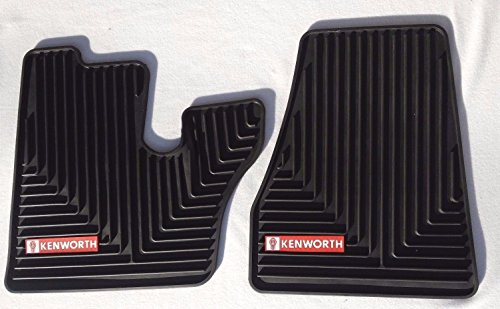 Kenworth T440 470 600 660 800 W900 OEM Black Rubber Floor Mats w/Red Logo Fits 2006-2021 (See Years Below)