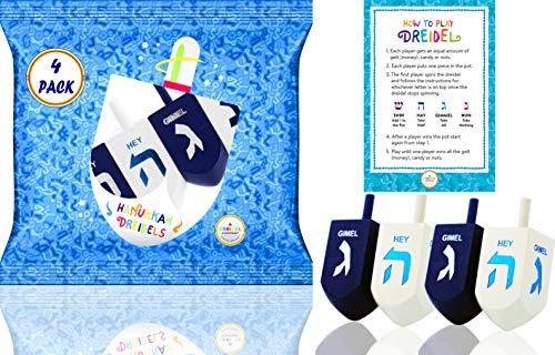 Hanukkah Dreidel Extra Large Blue & White Wooden Dreidels Hand Painted - Includes Game Instruction Cards! (4-Pack XL Dreidels)