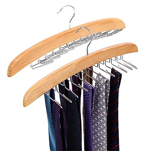 Ohuhu Krawattenhalter Gürtelhalter für kleiderschrank, Hölzerne Hängeorganizer für Krawatten & Gürtel, 360° drehbarer Haken aus Metall (Hölzern, 2 Pack)