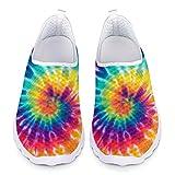 Chaqlin 3D Tie Dye Print Zapatillas Deportivas para Caminar Zapatillas de Moda sin Cordones Mujeres Hombres Zapatos Planos 43 EU